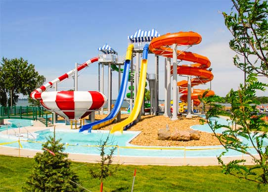 Outdoor water slides at King's Pointe Waterpark Resort
